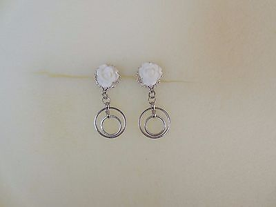 White Rose with Silver Tone Double Circle dangle gauge plug size 12g  2mm