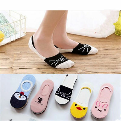 5 Pairs Women Cotton Invisible No Show Nonslip Loafer Boat10 Liner Low Cut Socks