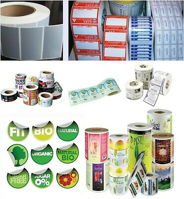 """1000 Full Color Roll Labels Custom Printed 2""""x2"""" White Stickers"""