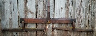 Antique  Wooden Horse Drawn Farm Yoke - Evener  Rustic Wall Hook Decor.60""