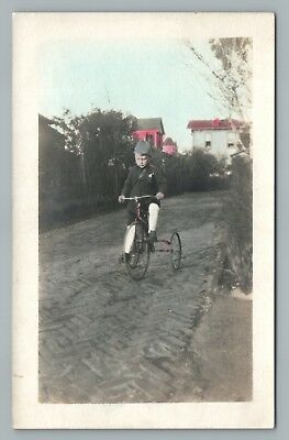 Tricycle Boy—Antique Photo RPPC Hand Colored Real Photo Postcard 1910s