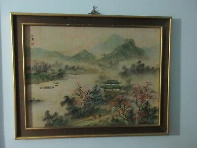 Vintage Original Oriental Asian Art On Cork - Rare - Signed