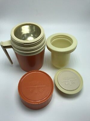 Thermos 10oz. #7002 Orange Wide Mouth Glass Lined with Insert King Seeley USA