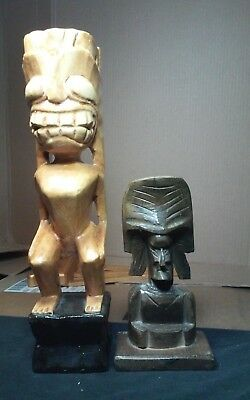 2 unusual carved wood tiki sculptures, Hawaiian,South Pacific tikis