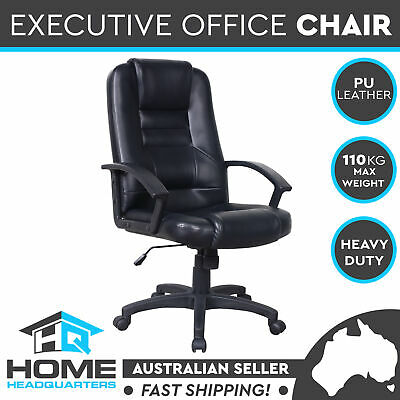 Executive Office Chair High Back PU Leather Padded Work Computer Seat Deluxe