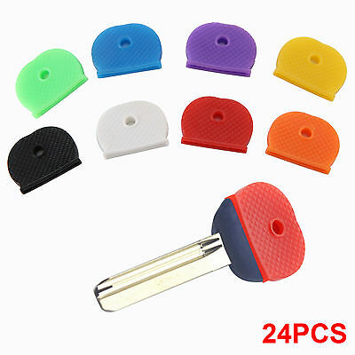24 Pack Coloured Rubber Key Top Covers Tags Head/Caps/ID Markers Mixed Toppers