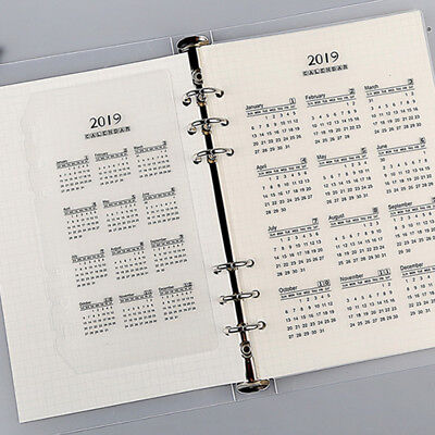5pcs 2019 Calendar Loose-leaf A5 A6 Month Index Page Separator Page 6 Holes