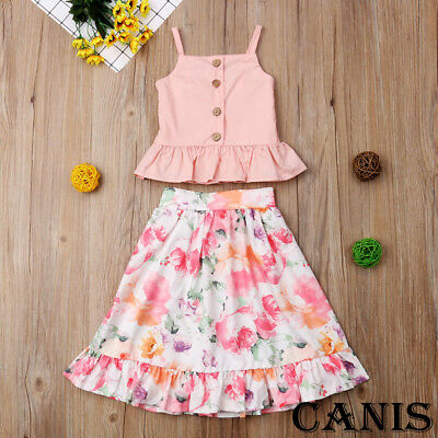 AU Toddler Kid Baby Girl Strap Blouse Tops Floral Skirt Dress Outfit Set Clothes