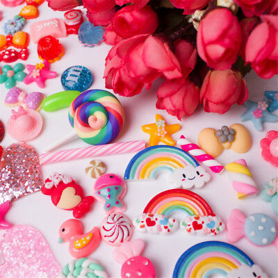 100 Pcs Slime Charms Mixed Candy Sweets Resin for DIY Scrapbooking Crafts