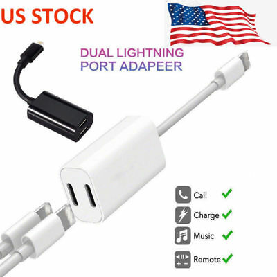 Dual Adapter Earphone Jack Audio Charge Cable For iPhone XS X 8 Plus White/Black