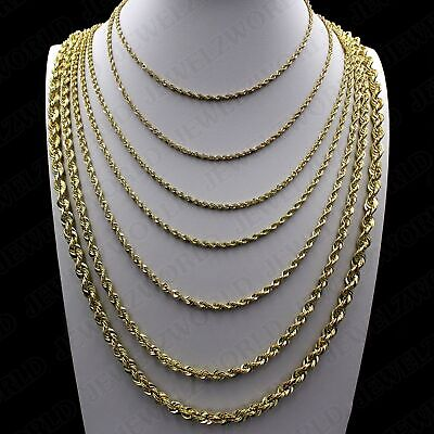 "Real 10K Yellow Gold 2mm - 6mm Diamond Cut Rope Chain Pendant Necklace 16""- 30"""