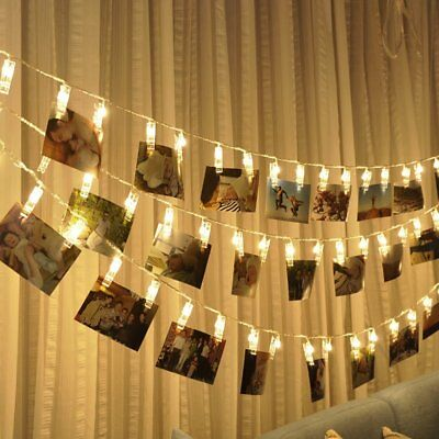 40LED Fairy String Lights Battery Powered Peg Photo Clip Hanging Picture Decor A