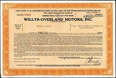 Willys - Overland Motors, Inc, Subscription Certificate For Car Manufacturing Co