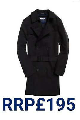 bcbe8d0f73 New Rrp£195 Xxl Size Mens Superdry New Director Trench Winter Coat Black  Bnwt