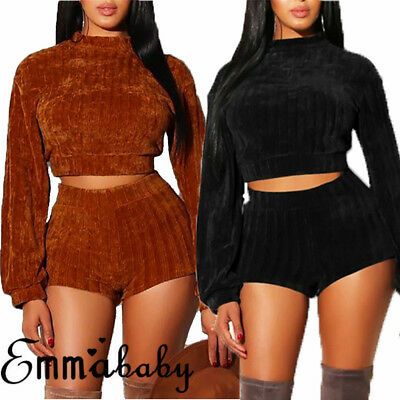 US Womens 2pcs Set Crop Tops + Shorts Hot Pants Clubwear Bodycon Jumpsuit Romper