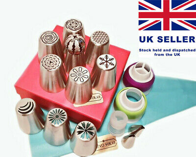 Russian Piping 25pc set 10 flower/ball tip + silicone bag, couplers & 2 leaf tip