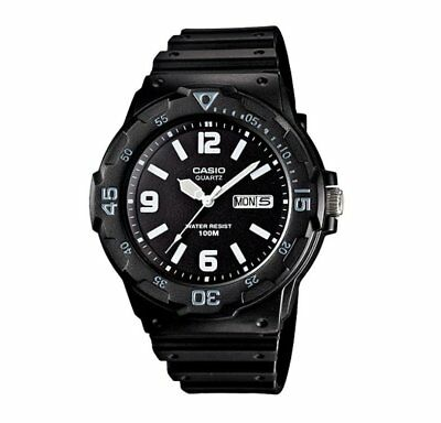 MRW-200H-1B2 Casio Men's black Rubber Strap Day Date 100M Analog Sports Watch