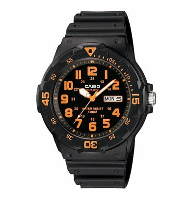 MRW-200H-4B Casio Men's black Rubber Strap Day Date 100M Analog Sports Watch
