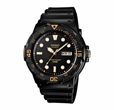 MRW-200H-1E Casio Men's black Rubber Strap Day Date 100M Analog Sports Watch