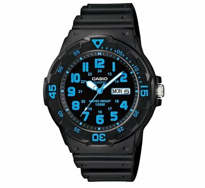 MRW-200H-2B Casio Men's black Rubber Strap Day Date 100M Analog Sports Watch
