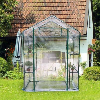 New Walk In Greenhouse PVC Plastic Cover 4 Shelves Growing House Outdoor Garden