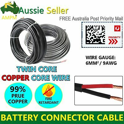 6MM2 9AWG Twin Core Wire Sheath Electrical Cables AUTO Boat Ute CARAVAN TRAILER