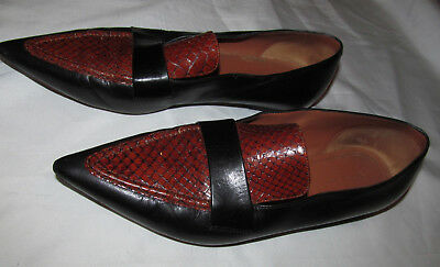 922094b30b7bd CELINE black and brown python snake pointy toe loafers flats shoes 36.5 6.5