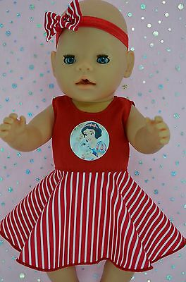 "Play n Wear Doll Clothes To Fit 17"" Baby Born STRIPE CIRCLE DRESS~HEADBAND"