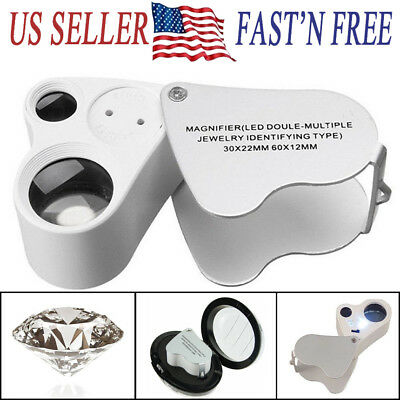 NEW 60X 30X Magnifier Loop Magnifying Glass Lens Jewelry Loupe 2 LED Light