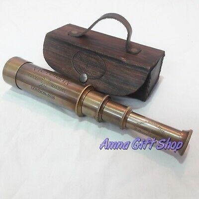 Brass Victorian Telescope With Leather Box Vintage Antique Gift Item