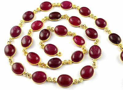 1 Feet Red Aventurine Cabochon 24k Gold Plated 6x9-8x10mm Connector Chain Beads