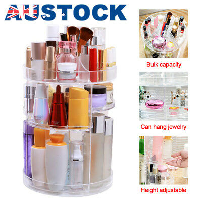 360° 3 Layer Rotating Acrylic Makeup Organiser Clear Cosmetics Holder Storage AU