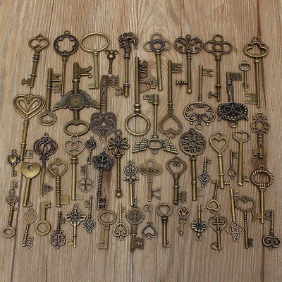 Set Of 69 Vintage Antique Old Look Bronze Keys Fancy Heart Bow Pendant DIY Gift