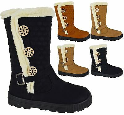 Ladies Womens New Flat Warm Winter Fur Lined Mid Calf Zip Riding Snow Boots Size