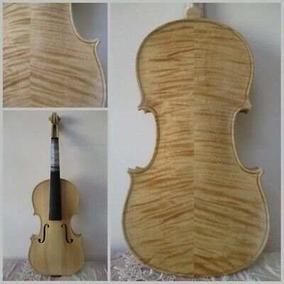 Professional White Unfinished Violin 4/4 Tiger Flame Maple Spruce Handmade 9#