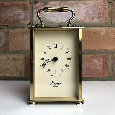 Vintage Rapport Of London Quartz Battery Carriage Clock, Brass/Metal Working