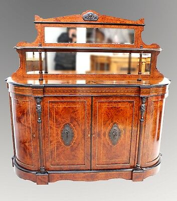 A Fantastic Quality Victorian Burr Walnut Credenza With Super Structure
