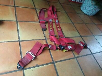 """Momo 4 point 3"""" red harness seatbelt racing trackday drift"""