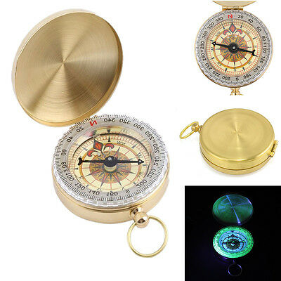 Pocket Brass Watch Style Outdoor Hiking Camping Navigation Compass Ring Keychain
