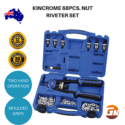 Kincrome 68pcs. Nut Riveter Set Heavy Duty Hand Rivet Tool Nutsert Kit Steel