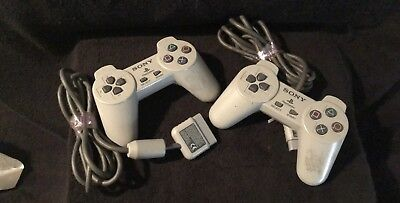 Official OEM Sony Playstation 1 PS1 Dual Shock Controller Gray Analog Bundle