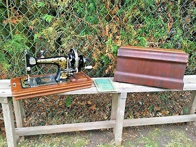 Vintage Sewing Machine Frister & Rossmann Model E Hand Crank 1930's With Lid