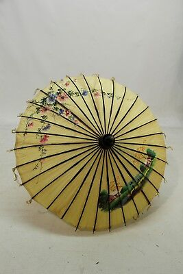 A Vintage Hand Painted on Fabric Chinese Parasol