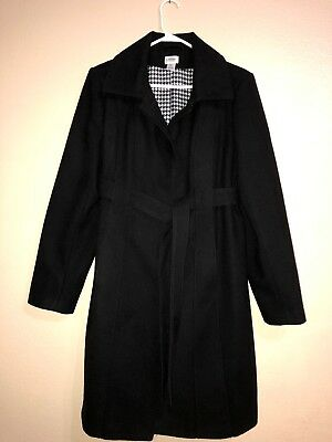 Motherhood Maternity L Coat Black Houndstooth Lined Button/Snap Belted