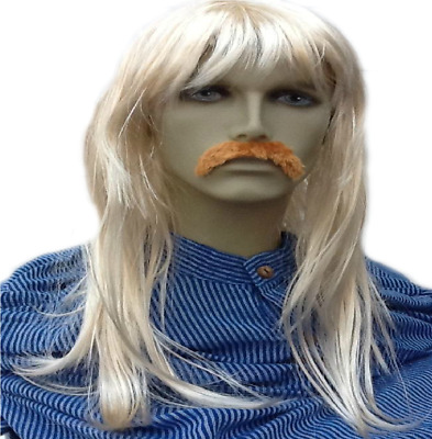 Long Straight Men's Blonde Fancy Dress Wig, Front Fringe Style+ Droop Moustache