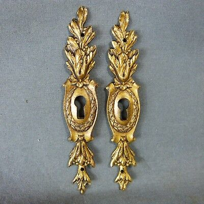 Pair of French Antique Bronze Keyhole Cover Escutcheon Louis XV Style