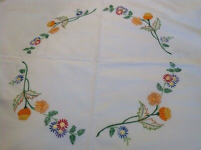 """Vintage Linen Hand Embroidered Table Cloth 52""""x50"""""""