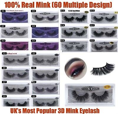 💙3D Mink Natural Thick False Fake Eyelashes handmade Lashes Makeup Extension💙