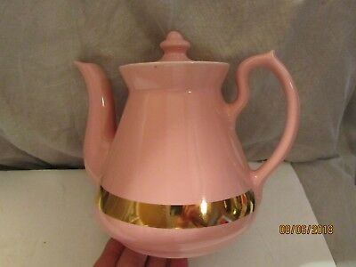 Vintage Heavy Pink-Gold Pink Philadelphia Style Ceramic Teapot by Hall China USA
