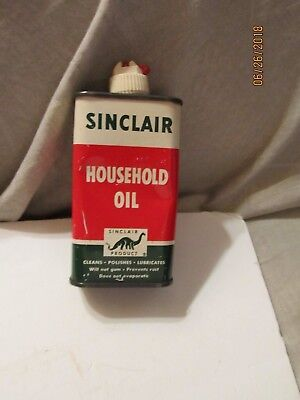 Sinclair Household Oil Metal Can 4 oz 1/4 Full by Sinclair Refinery Co NY